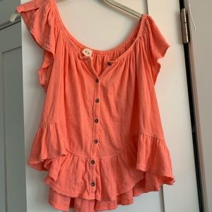 Free People peach blouse